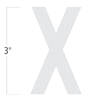Die-Cut 3 Inch Tall Reflective Letter X White