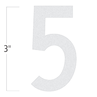 Die-Cut 3 Inch Tall Reflective Number 5 White