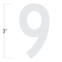 Die-Cut 3 Inch Tall Reflective Number 9 White