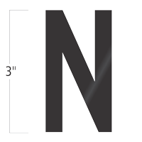 Die-Cut 3 Inch Tall Vinyl Letter N Black