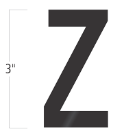 Die-Cut 3 Inch Tall Vinyl Letter Z Black