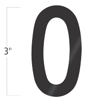 Die-Cut 3 Inch Tall Vinyl Number 0 Black