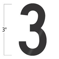 Die-Cut 3 Inch Tall Vinyl Number 3 Black