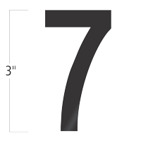 Die-Cut 3 Inch Tall Vinyl Number 7 Black