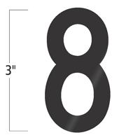 Die-Cut 3 Inch Tall Vinyl Number 8 Black
