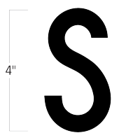 Die-Cut 4 Inch Tall Magnetic Letter S Black