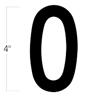 Die-Cut 4 Inch Tall Magnetic Number 0 Black