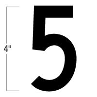 Die-Cut 4 Inch Tall Magnetic Number 5 Black