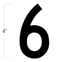 Die-Cut 4 Inch Tall Magnetic Number 6 Black
