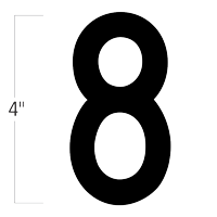 Die-Cut 4 Inch Tall Magnetic Number 8 Black