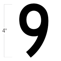 Die-Cut 4 Inch Tall Magnetic Number 9 Black