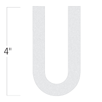 Die-Cut 4 Inch Tall Reflective Letter U White