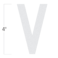 Die-Cut 4 Inch Tall Reflective Letter V White