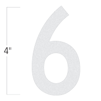 Die-Cut 4 Inch Tall Reflective Number 6 White