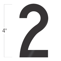 Die-Cut 4 Inch Tall Vinyl Number 2 Black