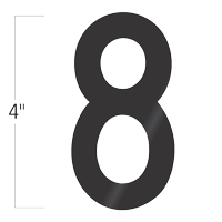 Die-Cut 4 Inch Tall Vinyl Number 8 Black