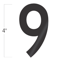 Die-Cut 4 Inch Tall Vinyl Number 9 Black