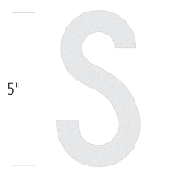 Die-Cut 5 Inch Tall Reflective Letter S White