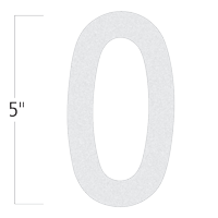 Die-Cut 5 Inch Tall Reflective Number 0 White