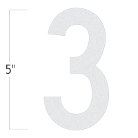 Die-Cut 5 Inch Tall Reflective Number 3 White