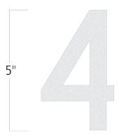 Die-Cut 5 Inch Tall Reflective Number 4 White