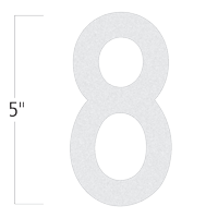 Die-Cut 5 Inch Tall Reflective Number 8 White