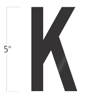 Die-Cut 5 Inch Tall Vinyl Letter K Black