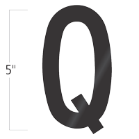 Die-Cut 5 Inch Tall Vinyl Letter Q Black