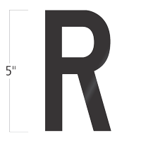 Die-Cut 5 Inch Tall Vinyl Letter R Black