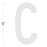 Die-Cut 6 Inch Tall Reflective Letter C White