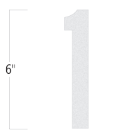 Die-Cut 6 Inch Tall Reflective Number 1 White