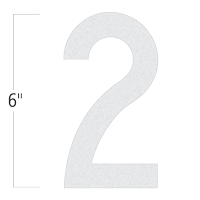 Die-Cut 6 Inch Tall Reflective Number 2 White