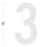 Die-Cut 6 Inch Tall Reflective Number 3 White