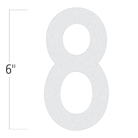 Die-Cut 6 Inch Tall Reflective Number 8 White