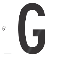 Die-Cut 6 Inch Tall Vinyl Letter G Black