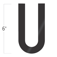 Die-Cut 6 Inch Tall Vinyl Letter U Black