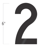 Die-Cut 6 Inch Tall Vinyl Number 2 Black