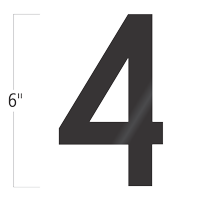 Die-Cut 6 Inch Tall Vinyl Number 4 Black