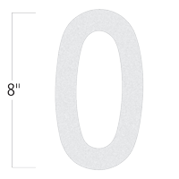Die-Cut 8 Inch Tall Reflective Number 0 White