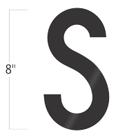 Die-Cut 8 Inch Tall Vinyl Letter S Black