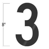 Die-Cut 8 Inch Tall Vinyl Number 3 Black