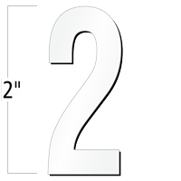 2 inch Die-Cut Magnetic Number - 2, White