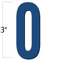 3 inch Die-Cut Magnetic Number - 0, Blue