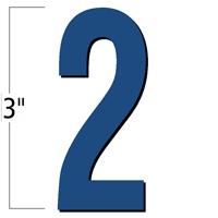 3 inch Die-Cut Magnetic Number - 2, Blue