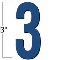 3 inch Die-Cut Magnetic Number - 3, Blue