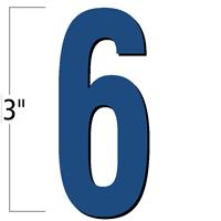 3 inch Die-Cut Magnetic Number - 6, Blue