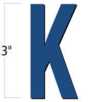 3 inch Die-Cut Magnetic Letter - K, Blue