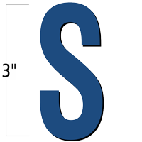 3 inch Die-Cut Magnetic Letter - S, Blue