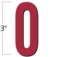 3 inch Die-Cut Magnetic Number - 0, Red