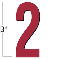 3 inch Die-Cut Magnetic Number - 2, Red